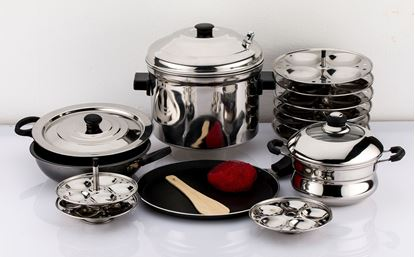 Picture of MAHAVIR 12PC  WITH IDLY AND MINI IDLY COOKER COMBO WITH DOSA TAWA AND NON STICK KADAI