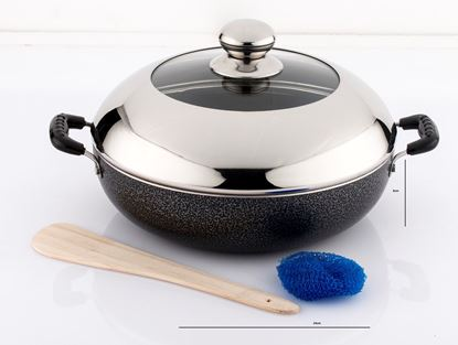 Picture of DIAMOND 240MM INDUCTION BASE NON STICK KADAI WITH DOME  GLASS LID